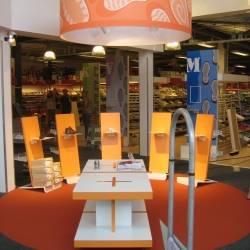 Orangener Schirm 150cm bedruckt.