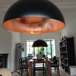 Kuppellampe 100cm schwarz mit Kupfer