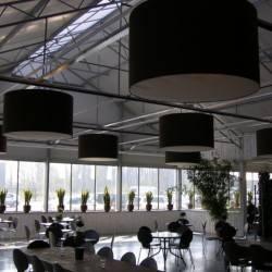Braune Lampenschirme aus Leinenstoff